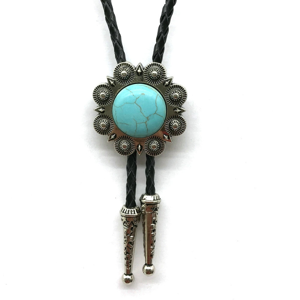Round Shape Turquoise Bolo Tie For Men Western Cowboy For Man Slides Set Clasp Necktie