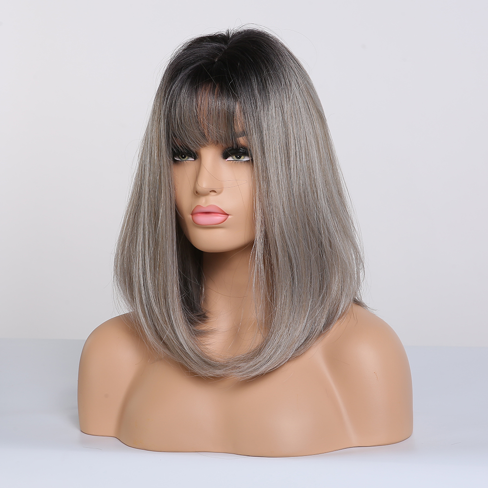 Image 5 - ALAN EATON Straight Short Wigs for Black Women Natural Black Ash Blonde Ombre Bobo Synthetic Wigs with Bangs Lolita Cosplay WigSynthetic None-Lace  Wigs   -