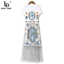 LD LINDA DELLA 2021 Fashion Runway Summer Dress donna manica corta perline stampa stelle marine impiombatura elegante abito Midi abiti