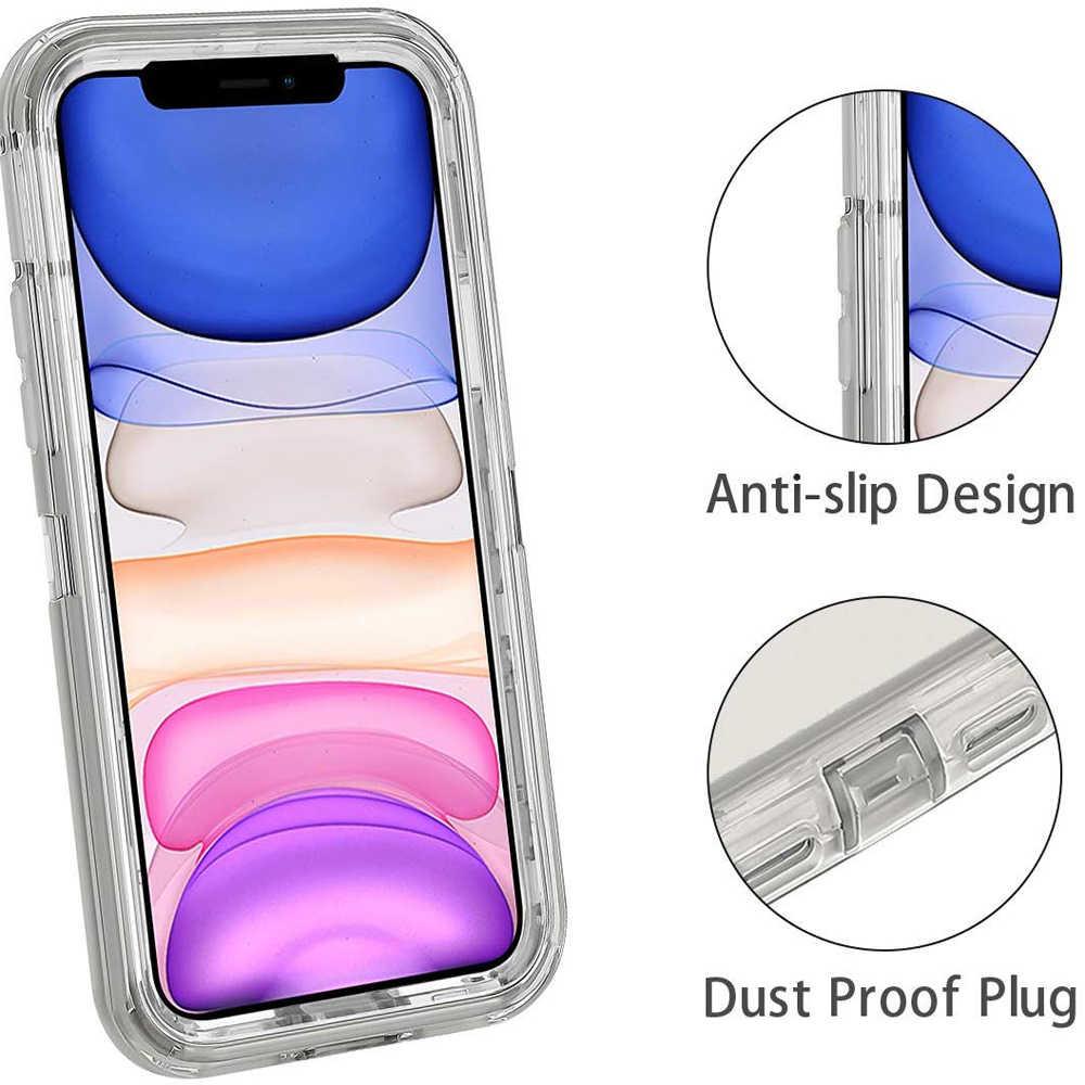 Untuk iPhone 11 Pro Max XR XS X 6S 7 7 Plus Setengah Jelas Merah Ungu Abu-abu Transparan Shockproof baju Besi Glossy Polos Case Ponsel Cover