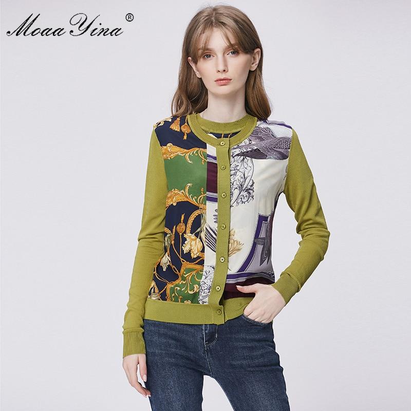 MoaaYina Spring Fashion Long Sleeve Knitting Tops Women's Elegant Print Cardigans Silk Patchwork Wool Sweater