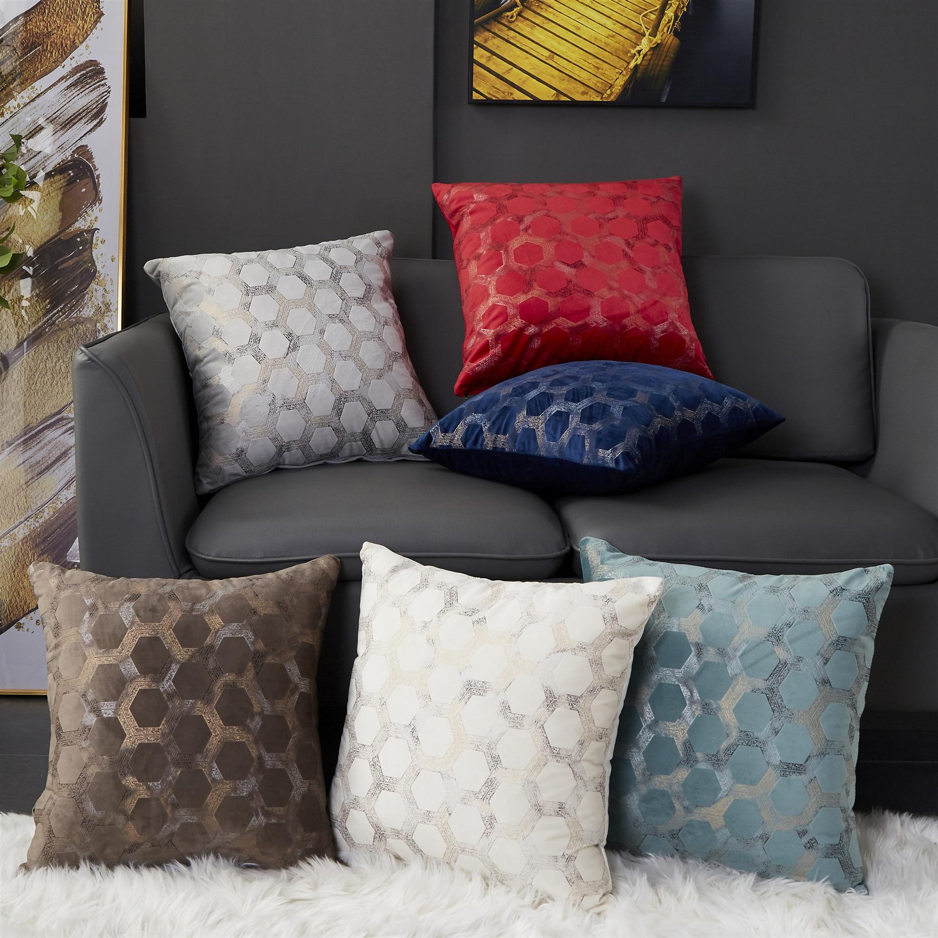 Yumuşak kadife yastık kılıfı minder örtüsü fildişi gri kırmızı mavi kahve Geoemtric ev dekoratif kanepe Bed45x45cm