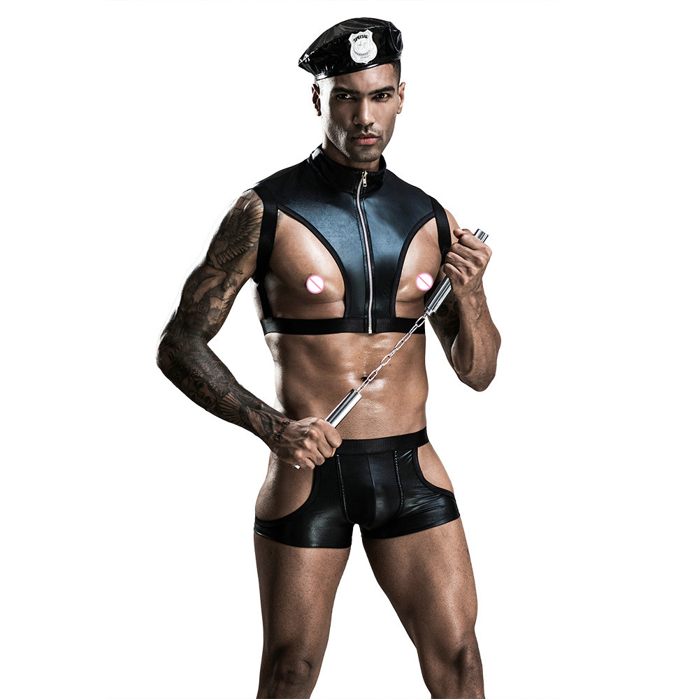2020 Police Men Faux Leather <font><b>Lingerie</b></font> <font><b>Sexy</b></font> Police Costume <font><b>Halloween</b></font> Adult America Policemen Cosplay Fancy Cops Dress 7205 image