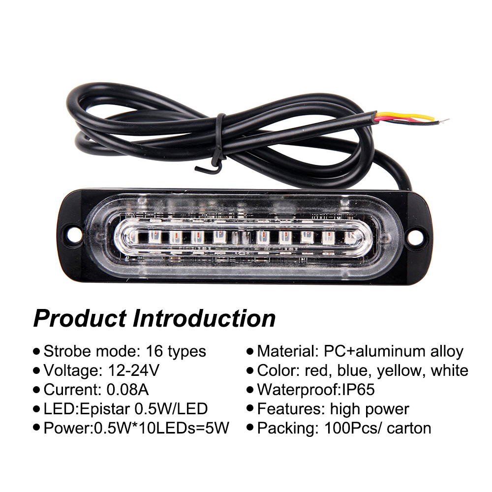 Surface Mounting Grille Deck Headlight Car-Styling Truck Led Warning Lamps Strobe Emergency Lights 16 Flashing Lightbar Police