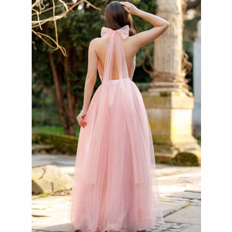 2019 Vintage Elegant Party Pink Dress Summer Fashion Sexy Deep V Neck Backless Lace Long Dress Women Evening Ladies Maxi Dress in Dresses from Women 39 s Clothing