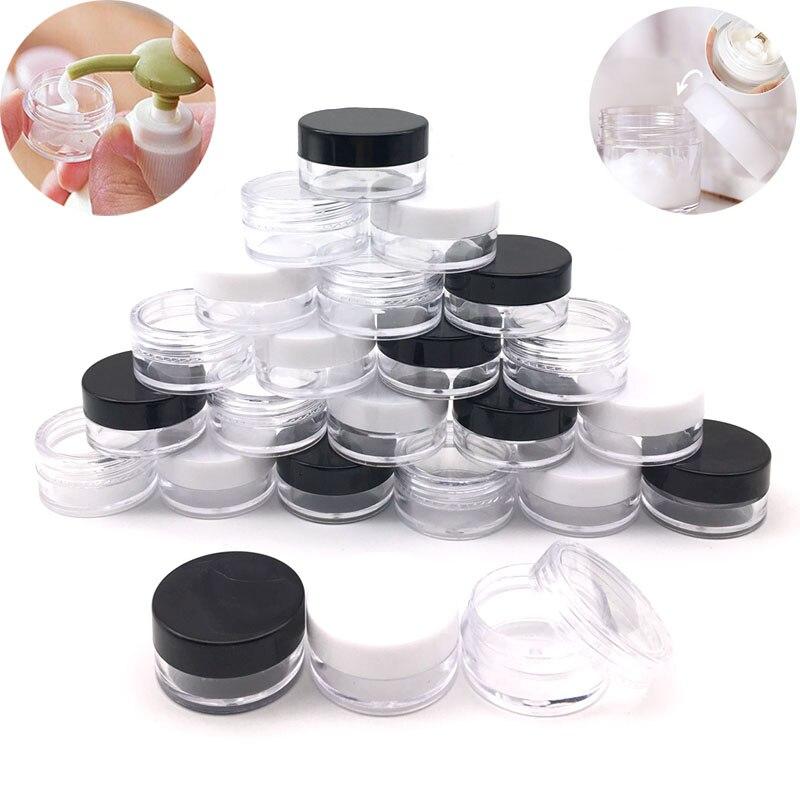 5 шт. 2 г/3 г/5g/10 г/1 5g/20 г пустые пластиковые прозрачные косметические банки контейнеры для макияжа лосьоны бутылки Флаконы крем для лица образ...