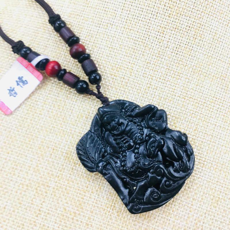 ナチュラル和田ヒスイの手彫黒幸運リビング仏ペンダントネックレスの男性と女性のセーターチェーン