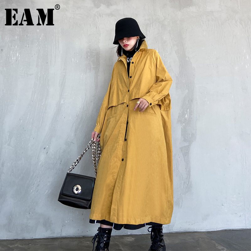 [EAM] Women Balck Single Breasted Big Size Long Trench New Lapel Long Sleeve Loose Fit Windbreaker Fashion Spring 2020 1R803