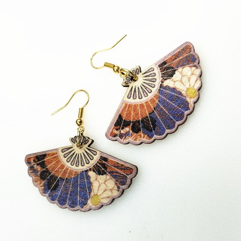 40 colors Fashion Gold wood Earrings Fan Earrings Printing Flower Drop Earrings Friendly Jewelry 3D Earrings Personality Gifts