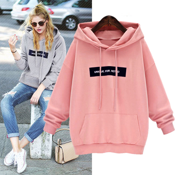 Letter Hoodies Solid Hooded Top Women Sweatshirt Long Sleeved Fleece Pullover Hoodie Top Student Autumn Casual Hooded Streetwear gothic hoodies autumn women 2020 hooded pullovers long lantern sleeve hooded black cat solid top hollow off shoulder pullover