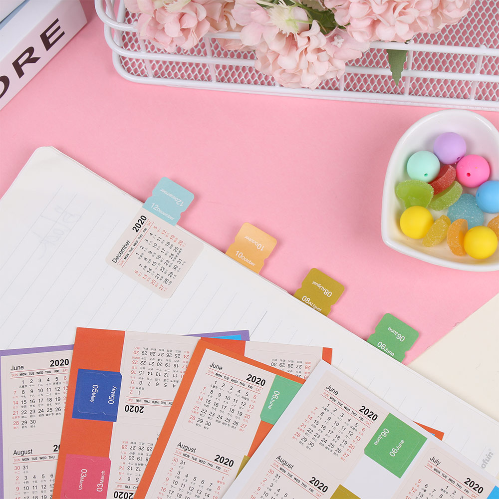 1 Set 115*210mm 2020 New Year Calendar Sticker Notebook Index Label Schedule Diary Planner Scheduler Stationery DIY Stickers