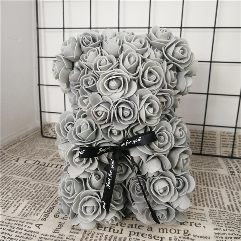 25/38cm Cartoon Rose Bear Artificial Flowers PE Flower Christmas Gifts for Women Valentines Day Gift Puppy Toys