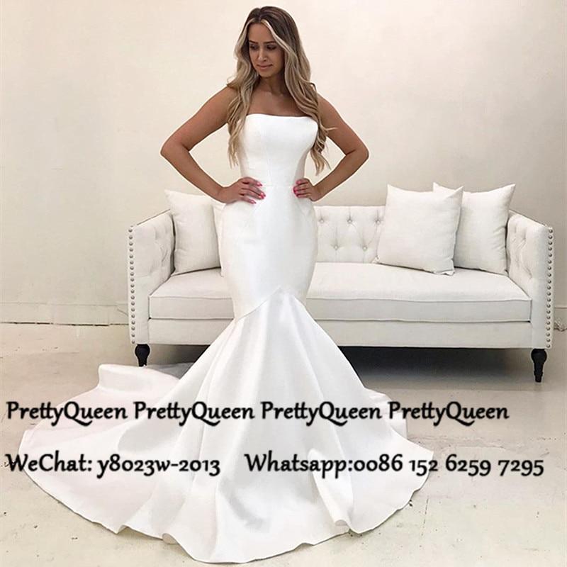 Vintage Mermaid White Satin Wedding Dress For Women 2020 Strapless Long Chapel Train Bridal Dresses Formal Vestido De Noiva