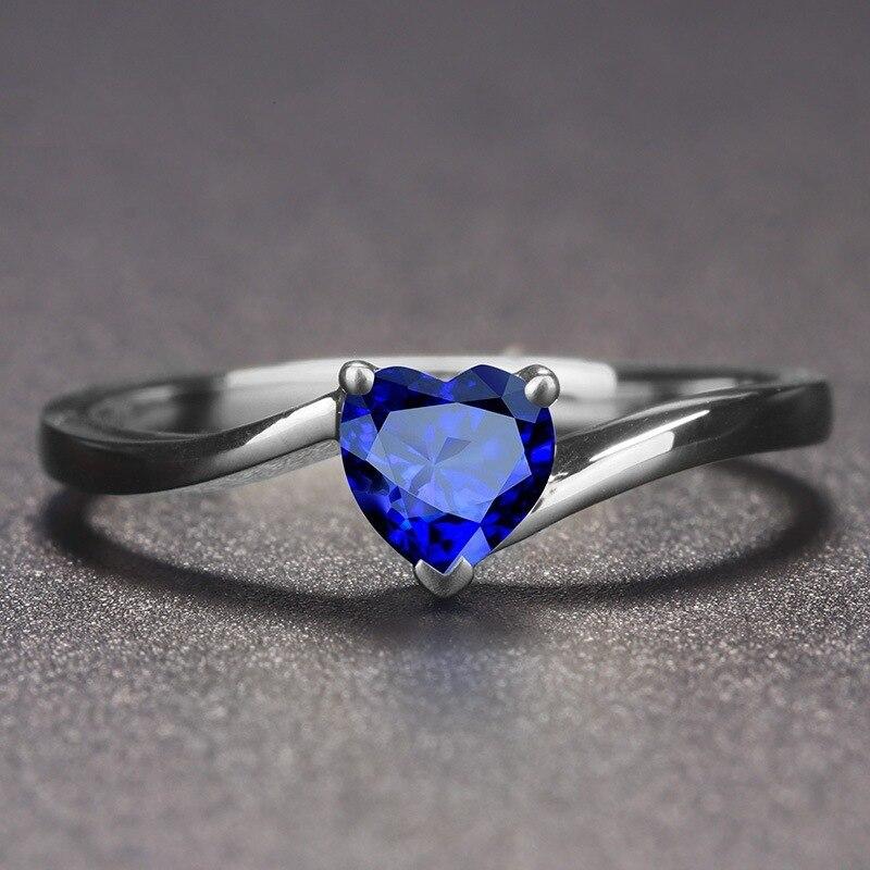 JoiasHome 925 Серебряное кольцо с сапфиром в форме сердца красный/синий цвет обручальные кольца для очаровательных женщин модные ювелирные издел...