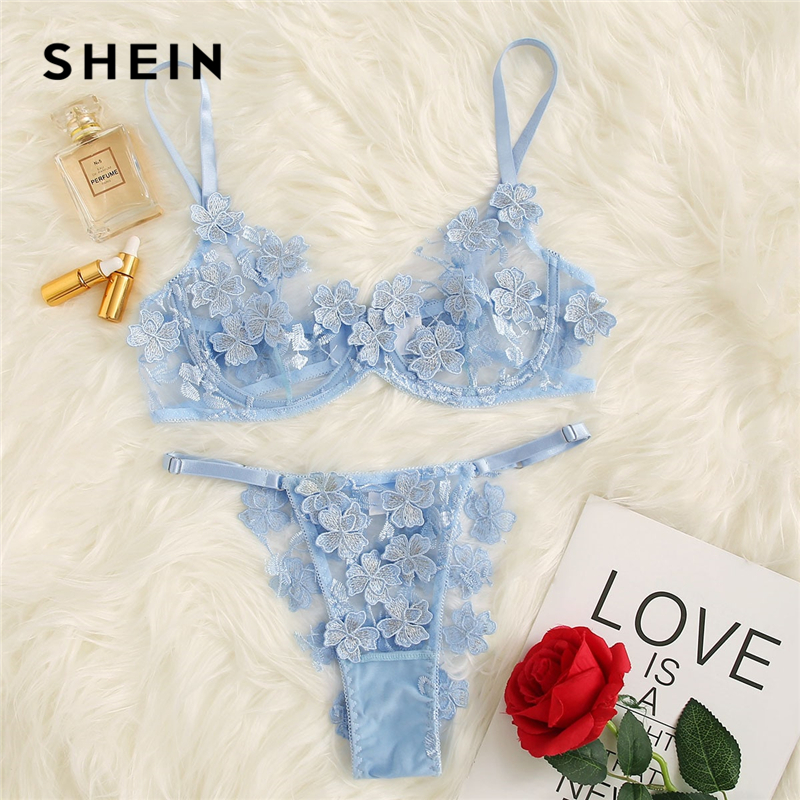 SHEIN Blue Applique Lace Mesh Underwire Lingerie Set Women Sexy Bralette And Pantie Sleepwear Intimate Lingerie Sets