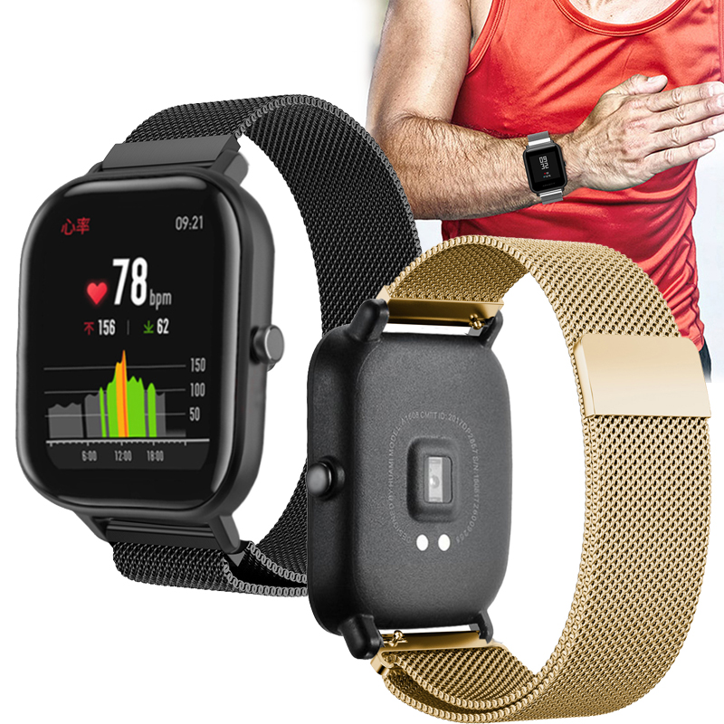 Milanese wrist strap for Xiaomi Huami Amazfit GTS Bip BIT PACE Lite Youth Magnetic buckle watchband For Garmin vivoactive 3