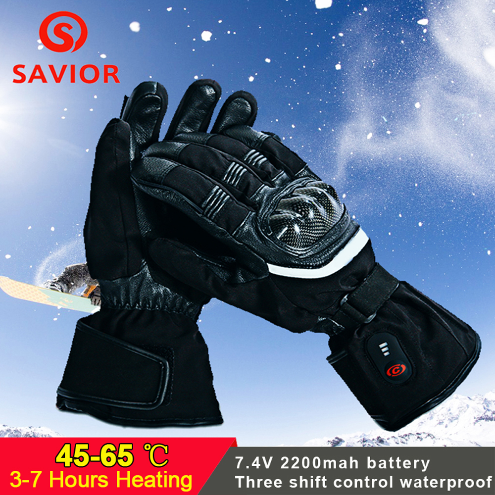 SAVIOR Motorcycle Heated Gloves Riding Racing Biking Winter Sports Electric Rechargeable Battery Heated Warm Cycling Ski Gloves