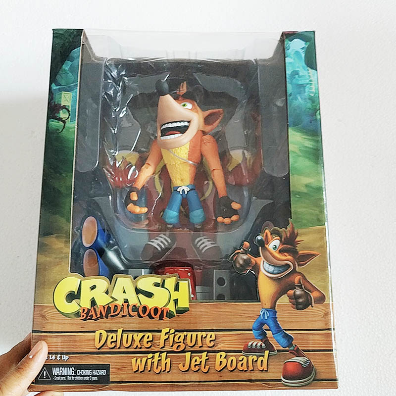 NECA CRASH BANDICOOT with Crate Action Figure PLAY STATION CLASSIC TOY GIFT XMAS