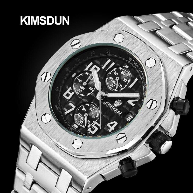 KIMSDUN Top Brand Luxury Mens Quartz Chronograph Steel Watch AP Military Business Calendar Table Royal Oak Rose Gold Watch Men
