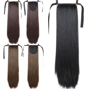 African Women's Long Straight Drawstring Drawstring Strap Ponytail Synthetic Hair Clip Hair Extension Natural hair extension