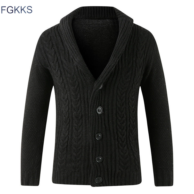 FGKKS New Men Knitting Sweaters Coat Casual Warm Men's High Quality Fashion Cardigan V-neck Sweater Male Coat