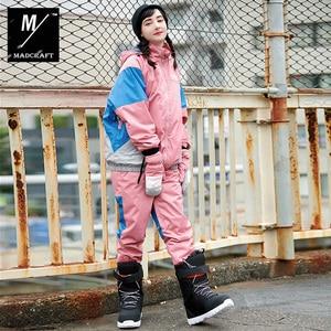 Image 3 - New winter ski suits women Waterproof and warm outdoor snowboard jacket man ski wear vintage style