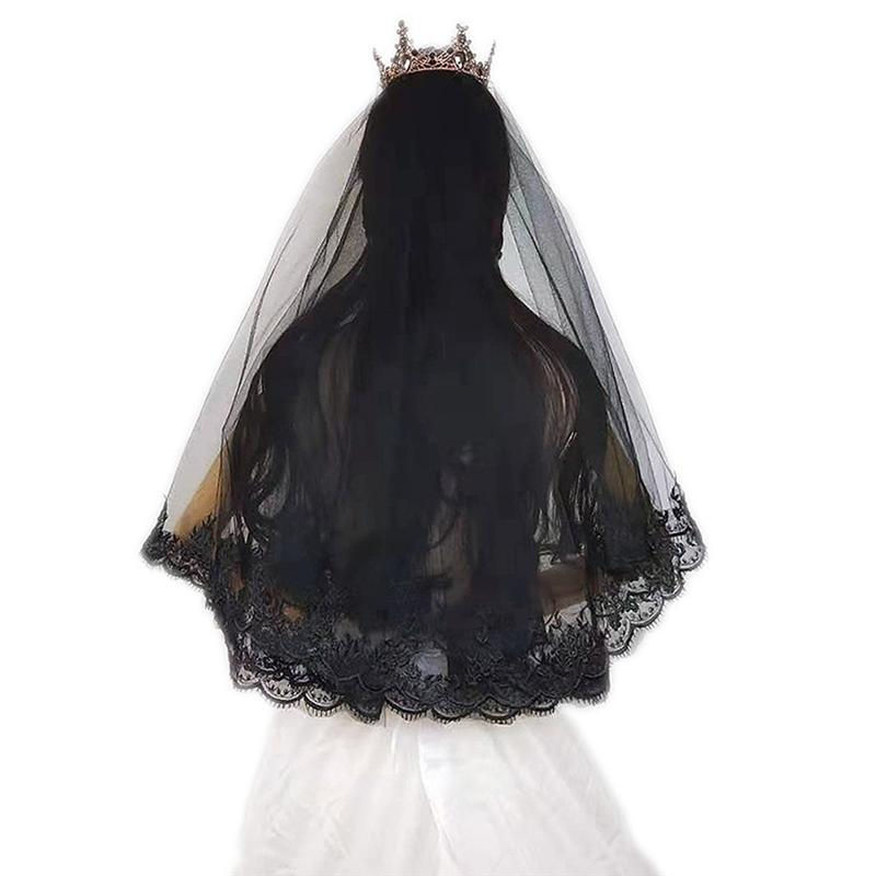 Beautiful Black Bridal Veil Elegant Lace Bride Wedding Veil Gauze Cheap Bride Veil For Engagement Wedding Marriage Accessories
