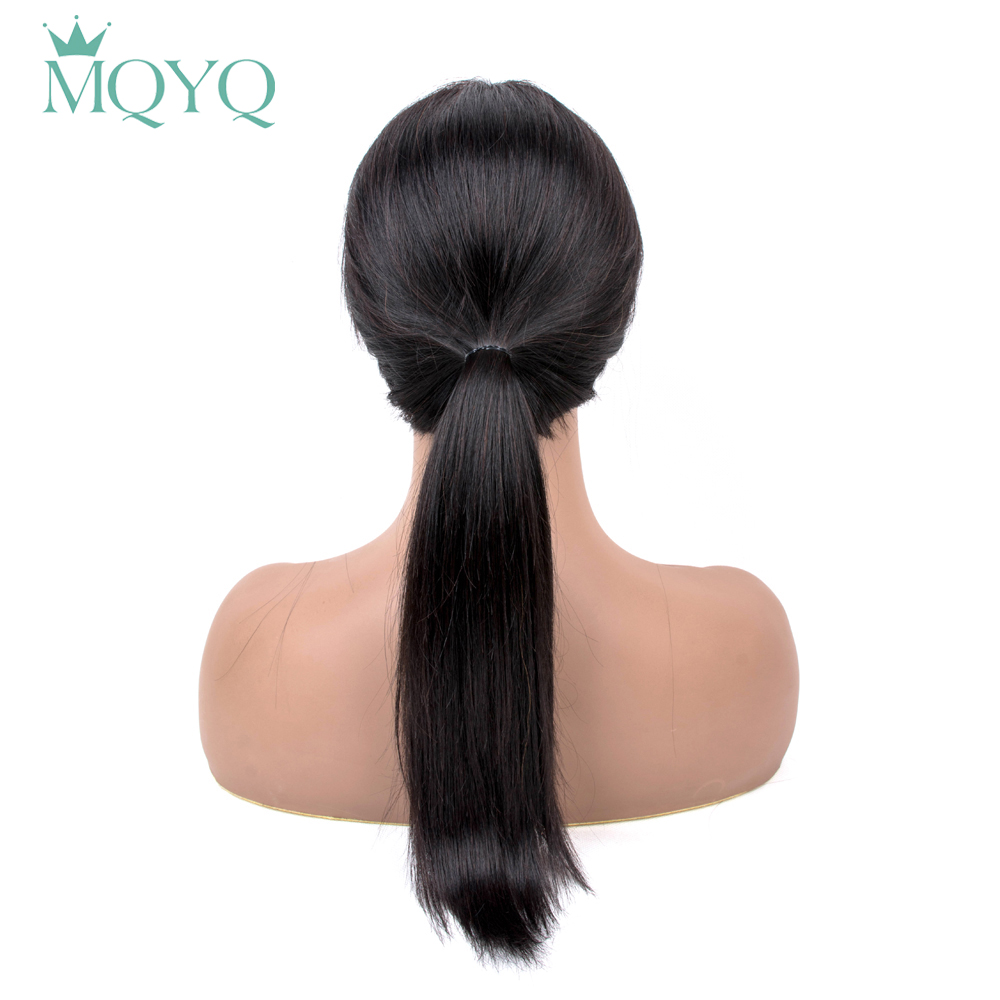 MQYQ Straight Human Hair Wigs With Bangs For Women Brazilian Wig 16inch Machine Natural Color Non Remy Hair