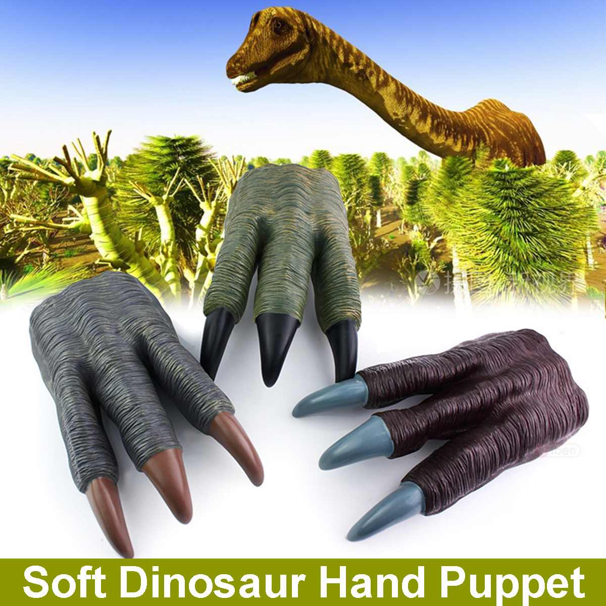 Dinosaur Claw Gloves Simulation Dinosaur Toy Hand Cosplay Halloween Party Kid Trick Prop Prank Toy For Kids Puppets Toys Gifts