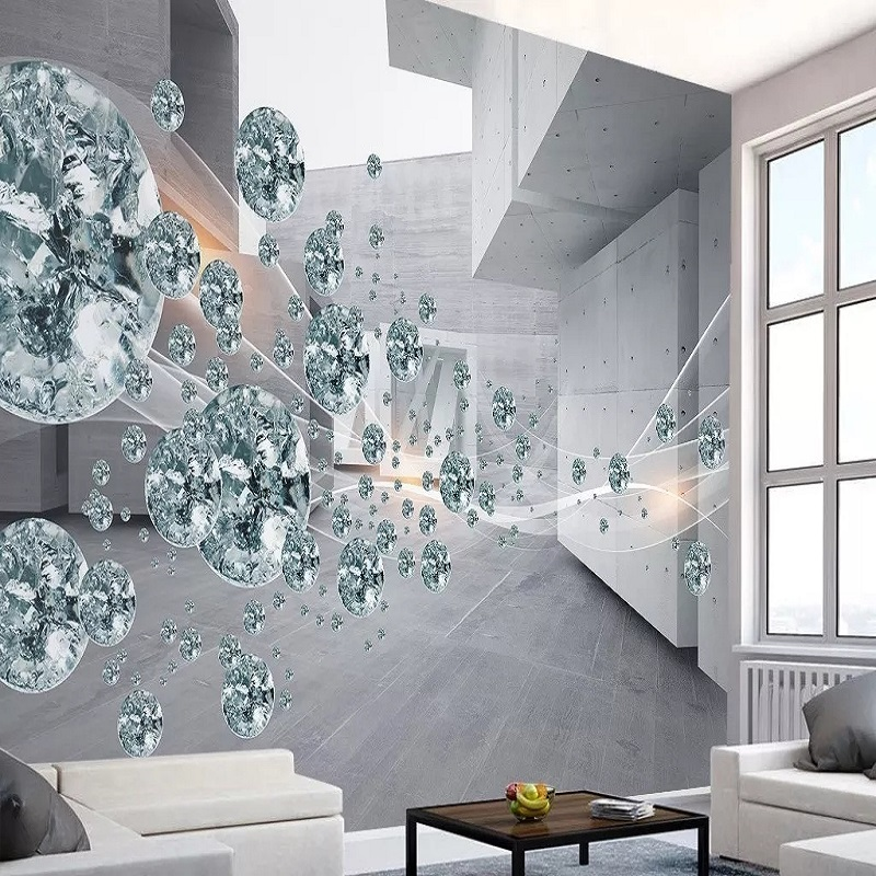 Custom Large Mural 3D Wallpaper Modern Creative 3D Expansion Space Gray Wall Sphere TV Back Wall Decor 5D Embossed