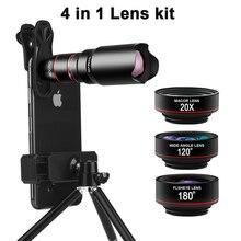 電話カメラレンズキット4in1望遠ズーム22Xレンズ望遠鏡単眼ワイドマクロ魚眼レンズと三脚用スマートフォン