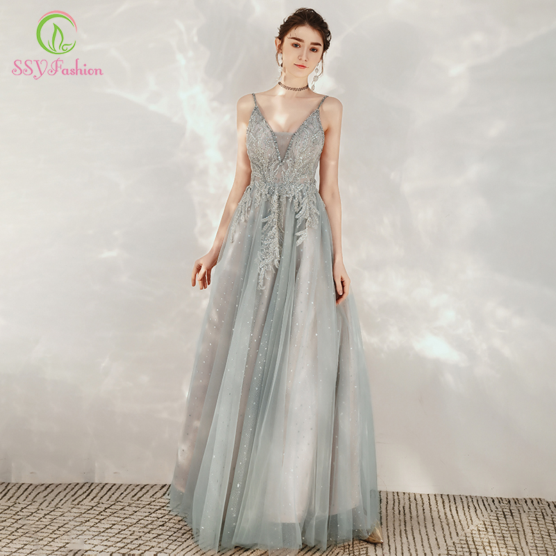 SSYFashion New Sexy Grey Evening Dresses V-neck Backless Sequins Appliques Long Prom Party Formal Gown Vestidos De Noche Custom