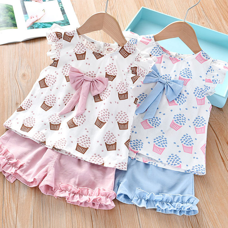 He94cc545bca845e5abd401d08963297cH Humor Bear Girls Clothing Set 2020 Korean Summer New Ice Cream Bow T-shirt+Pants Kids Suit Toddler Baby Children's Clothes
