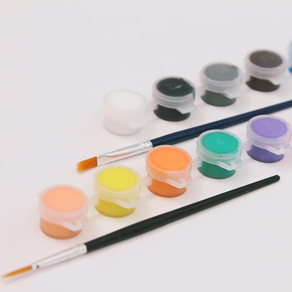 12 Colors Acrylic Painting Pigment Paint Brush Set DIY Art Craft Drawing Tool