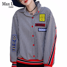 Loose Shirts Blouses Patchwork Max-Lulu Plus-Size Korean-Fashion Casual Tops Plaid Printed