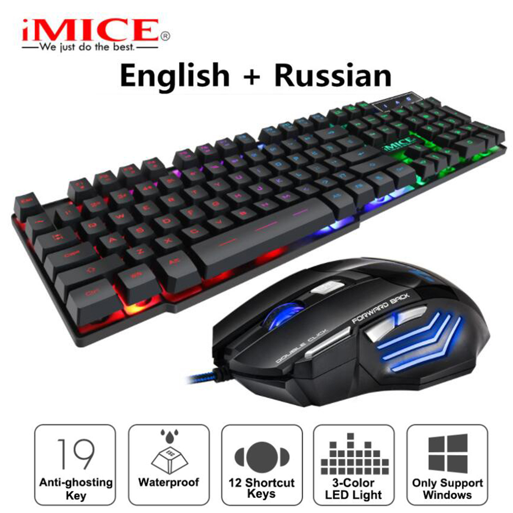 IMice Russian USB Wired Gaming Keyboard And Mouse Set Breathing Backlight For PC Laptop E-sports Games