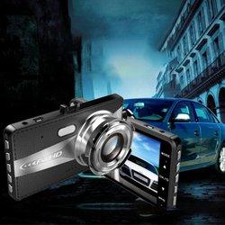 HD 4 Cal podwójny obiektyw obraz szeroki kąt rejestrator jazdy kamera na deskę rozdzielczą podwójny obiektyw kamera samochodowa Night Vision 2.5d lustro rejestrator jazdy|Kamery nadzoru|Bezpieczeństwo i ochrona -