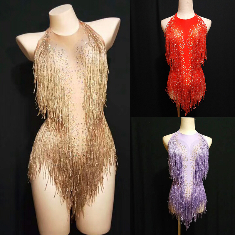 Sparkly Gold Rhinestones Tassel Bodysuit Female Singer DJ Sexy Holographic Leotard Jazz Beyonce Costume Crystals Outfit DL1012