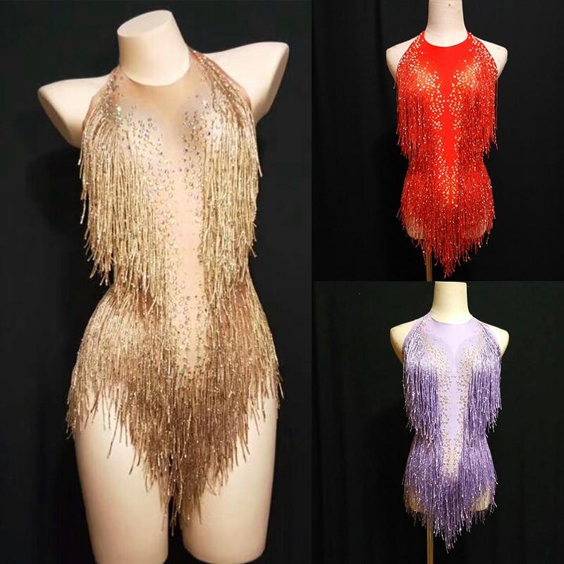 Sparkly Gold Rhinestones Tassel Bodysuit Female Singer DJ Sexy Holographic Leotard Jazz Beyonce Costume Crystals Outfit DL1012
