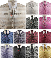 Free Shipping High quality  men fancy paisley custom made wedding waistcoat set