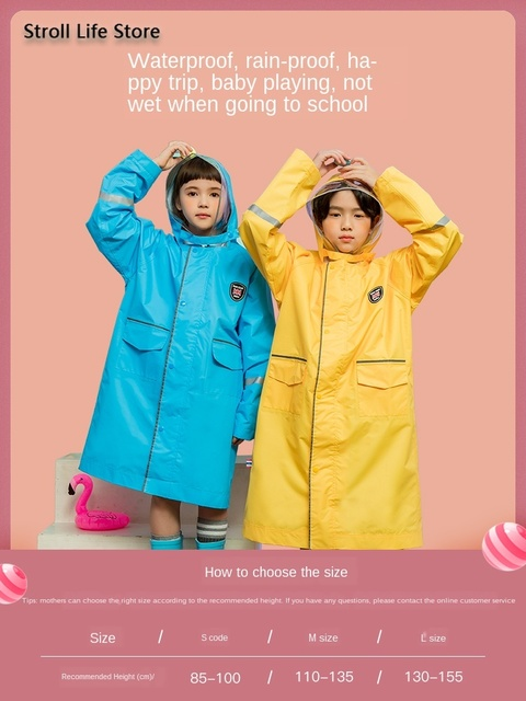 Long Raincoat Kids Rain Ponchos Yellow Jacket Waterproof Suit Blue Rain Coat Reflective Strip Hiking Impermeable Birthday Gift 4
