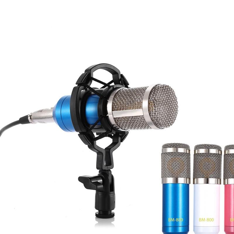 BM800 конденсаторный микрофон для студийной звукозаписи, трансляции, пения, караоке, микрофон 3,5 мм, аудио кабель, губка, микрофон