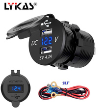 LYKAS Dual USB Auto Charger Voltmeter Digital Display Waterproof Phone Power Outlet for Car Motorcycle 12v 24v
