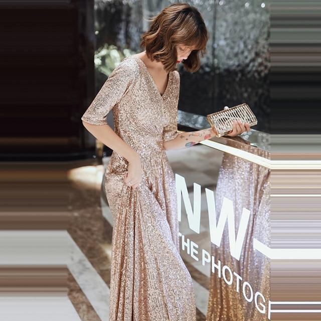 Sparkle Sequined Evening Dresses It's Yiiya K004 Double V-neck Evening Dress Elegant Robe De Soiree 2020 Plus Size Evening Gown 6