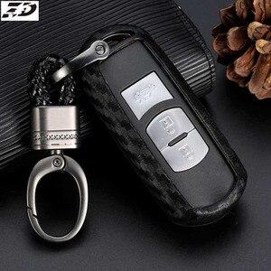 Силиконовый чехол для ключей от машины из углеродного волокна, защитный чехол для Mazda 3, CX3, CX5, 2018 г., комплект с чехлом на брелок для ключей от ...