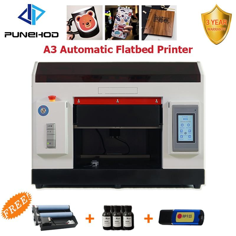 Punehod petit mini a3 taille numérique uv led rotatif à plat imprimante prix pour bouteille machine d'impression avec encre gratuite