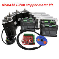 3 Axis CNC kit Nema 34 1600Oz in/6A 86HS6204 12Nm Stepper Motor & 6A/110VDC Microstep motor driver for CNC Milling Machine