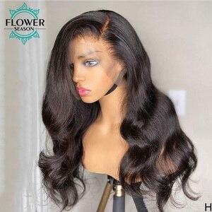 Image 1 - 波状人毛ウィッグロングインドの remy 毛グルーレス 13*6 レースの前部かつら自然な色 130% flowerseason