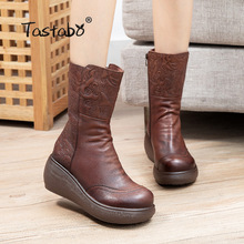 Short Boots Winter Shoes Platform High-Heel Real-Leather Casual Fashion Women Footwear
