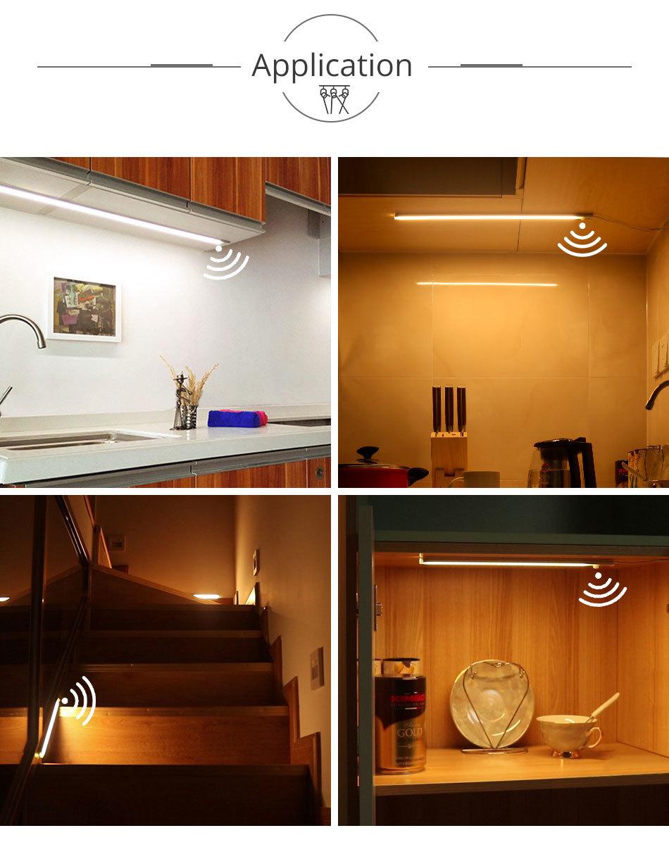 PIR 12V DC Aluminnum LED Under Cabinet Lights BodyLight Sensor Light Kitchen Wardrobe Night Lighting Cabinet Lamps (13)